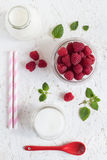 Colorful Raspberry Milk Drink Set. On a White Background. Overhead View Royalty Free Stock Image