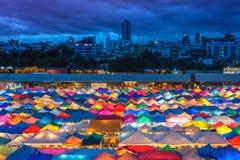 Colorful Ratchada Night Market at night in Bangkok, Thailand Stock Images