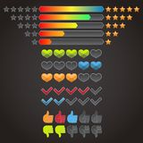 Colorful rating icons set Stock Images