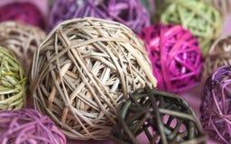 Colorful rattan balls stock image