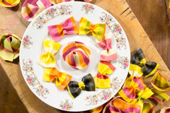 Colorful ravioli pasta decorated in a plate Royalty Free Stock Photo