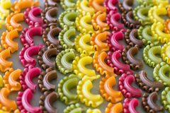 Colorful raw pasta. Stock Image