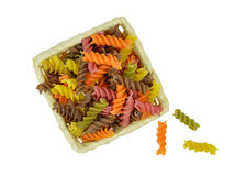 Colorful raw pasta. Isolate without shadow. Royalty Free Stock Photography