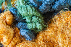 Colorful raw silk thread Stock Images