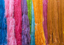 Colorful of Raw silk thread for background Royalty Free Stock Photography