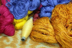 Colorful raw silk thread Royalty Free Stock Images