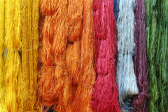 Colorful raw silk thread Royalty Free Stock Photos