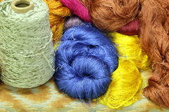 Colorful raw silk thread Royalty Free Stock Image