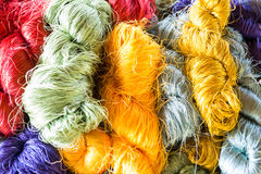 Colorful raw silk thread Stock Photos