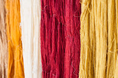 Colorful raw Thai silk thread Stock Images
