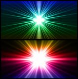 Colorful rays of light. Two vector background Stock Photography