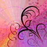 Colorful rays vector background. With floral element royalty free illustration
