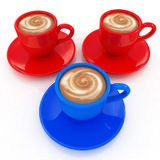 Colorful real 3d cups of coffee with milk Royalty Free Stock Photos