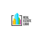 colorful real estate agency logo, house logotype on white, home concept icon, skyscrapers vector illustration. Stock Photography