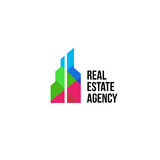 colorful real estate agency logo, house logotype on white, home concept icon, skyscrapers vector illustration. Stock Photos
