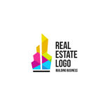 colorful real estate agency logo, house logotype on white, home concept icon, skyscrapers vector illustration. Stock Image