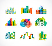 Colorful real estate, city and skyline icons Stock Photography