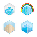 Colorful real estate, city and skyline icons, vector illustrations Royalty Free Stock Photos