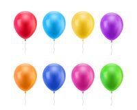 Colorful realistic ballons. Colored balloons of realistic set on a white background for designers and illustrators. Gasbags template as a vector illustration Royalty Free Stock Images