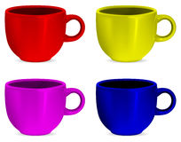 Colorful realistic blank cups Stock Photography