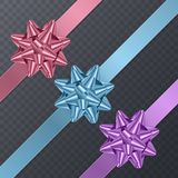Colorful, realistic Bows. Gift Element For Card Design. Holiday Background, Vector Illustration Royalty Free Stock Image