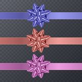 Colorful, realistic Bows. Gift Element For Card Design. Holiday Background, Vector Illustration Stock Images