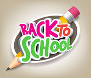 Colorful Realistic 3D Back to School Title Texts. With Big Pencil in a Circle for Poster Design in Colorful Background. Vector Illustration stock illustration