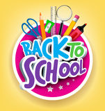 Colorful Realistic 3D Back to School Title Texts. With School Items in a Circle for Poster Design in Yellow Background. Vector Illustration Stock Images