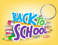 Colorful Realistic 3D Back to School Title Texts. With School Items for Poster Design in Yellow Background. Vector Illustration Stock Photos