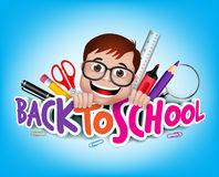 Colorful Realistic 3D Back to School Title Texts. With Nerd Genius Student Happy Smiling with School Items. Vector Illustration Stock Images