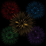 Colorful realistic fireworks. On the black background, Vector illustration Stock Photography