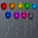 Colorful realistic helium balloons transparent background. Vector illustration stock illustration