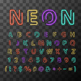 Colorful realistic neon letters, full latin alphabet on transparent background Stock Photo