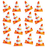 colorful realistic pattern traffic cone set Stock Photo