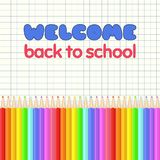 Colorful realistic pencils border. Rainbow colored crayons in a line. Graphic design element for scrapbooking, flyer, poster, back to school sale invitation Royalty Free Stock Photos