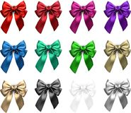 Colorful realistic satin bows isolated on white. Set of colorful realistic beautiful satin bows for gift isolated on white. Vector illustration Stock Photography