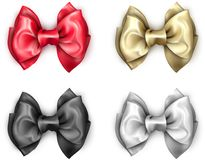 Colorful realistic satin bows isolated on white. Set of colorful realistic beautiful satin bows for gift isolated on white. Vector illustration Royalty Free Stock Photo