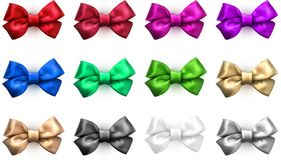 Colorful realistic satin bows isolated on white. Set of colorful realistic beautiful satin bows for gift isolated on white. Vector illustration Royalty Free Stock Photos