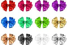 Colorful realistic satin bows isolated on white. Set of colorful realistic beautiful satin bows for gift isolated on white. Vector illustration Stock Images