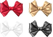 Colorful realistic satin bows isolated on white. Set of colorful realistic beautiful satin bows for gift isolated on white. Vector illustration Royalty Free Stock Photography