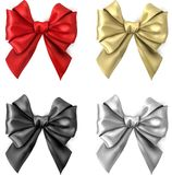 Colorful realistic satin bows isolated on white. Set of colorful realistic beautiful satin bows for gift isolated on white. Vector illustration Stock Photo