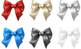 Colorful realistic satin bows isolated on white. Set of colorful realistic beautiful satin bows for gift isolated on white. Vector illustration Stock Photos