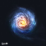 Colorful Realistic Spiral Galaxy on Cosmic Background. Vector illustration. vector illustration