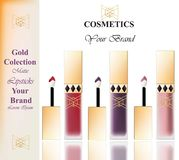 Colorful Realistick lipgloss package in gold. Vector detailed cosmetics product set collections Stock Photography