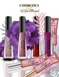 Colorful Realistick lipgloss package in gold. Vector detailed cosmetics product set collections Royalty Free Stock Photography