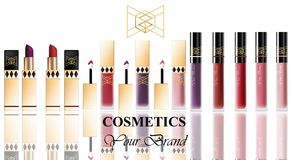 Colorful Realistick lipgloss package in gold. Vector detailed cosmetics products set big collection Royalty Free Stock Photo