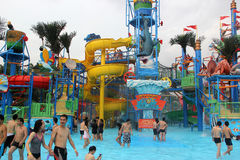The colorful Recreation facility in the Guangzhou water park Royalty Free Stock Image