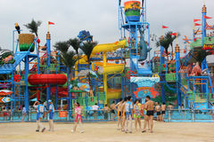 The colorful Recreation facility in the Guangzhou water park Stock Photo