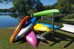 Colorful recreational kayaks Royalty Free Stock Photos