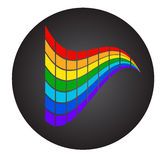 Colorful rectangles on black circle. Abstract. Background full of rainbow colors can be used as logo Royalty Free Stock Image